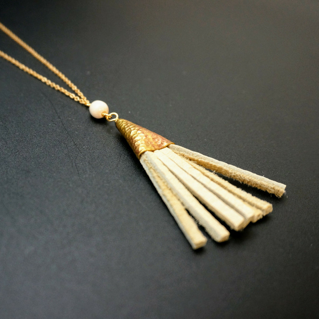 Leather Tassel Pendant - 34 Inches