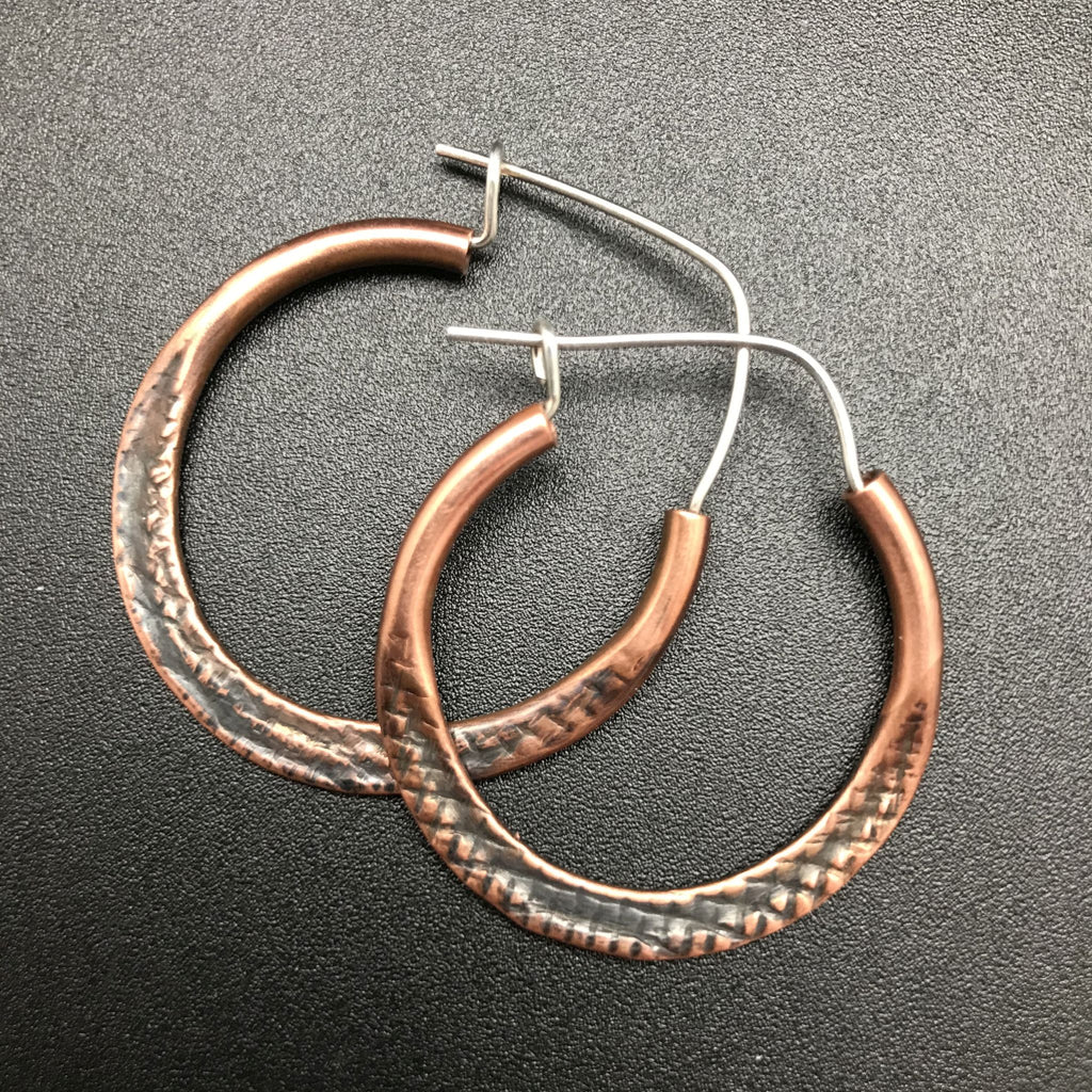 Earrings, Crosshatch Copper Hoop