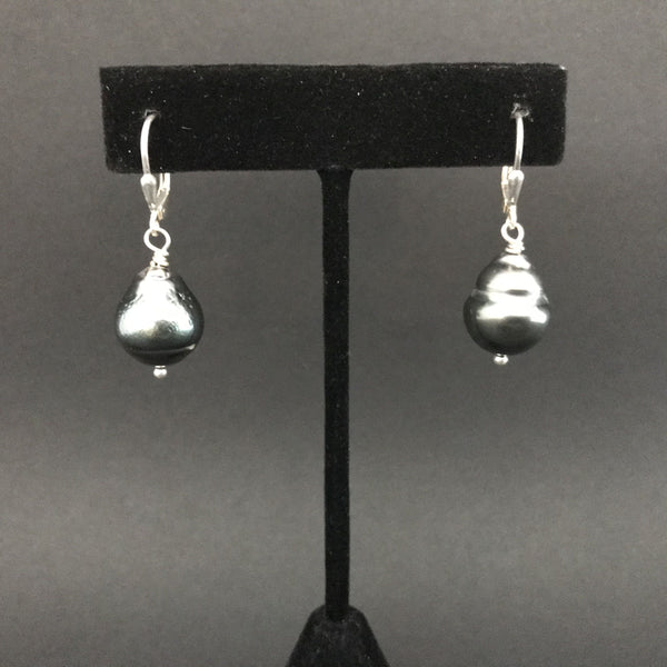 Earrings, Tahitian Pearl Single Drop