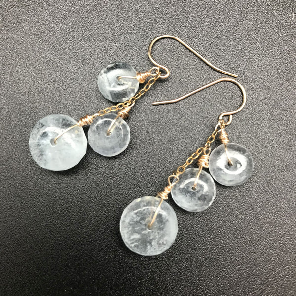 Earrings, Aquamarine Chained Wheels