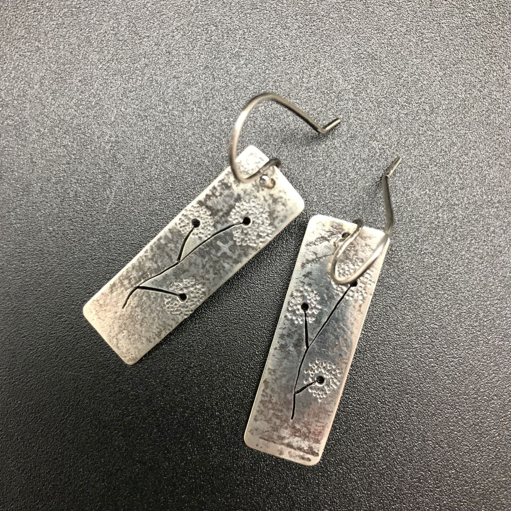 Earrings, Dandelion Rectangle