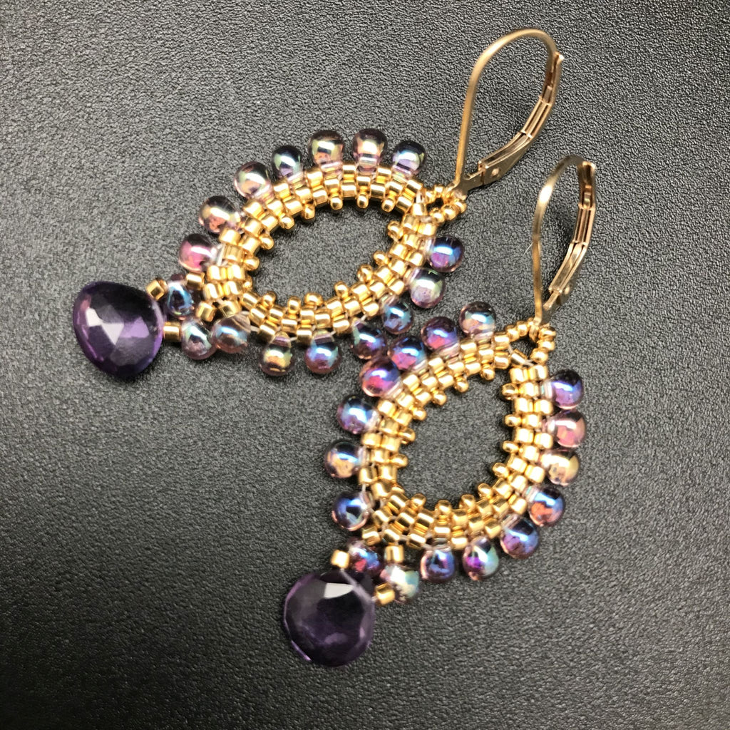 Earrings, Gold & Amethyst Teardrop Fringe