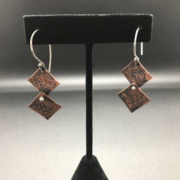 Earrings, Copper Hinged Square