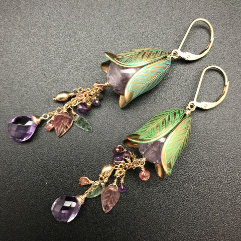 Earrings, Amethyst & Brass Trailing Flowers