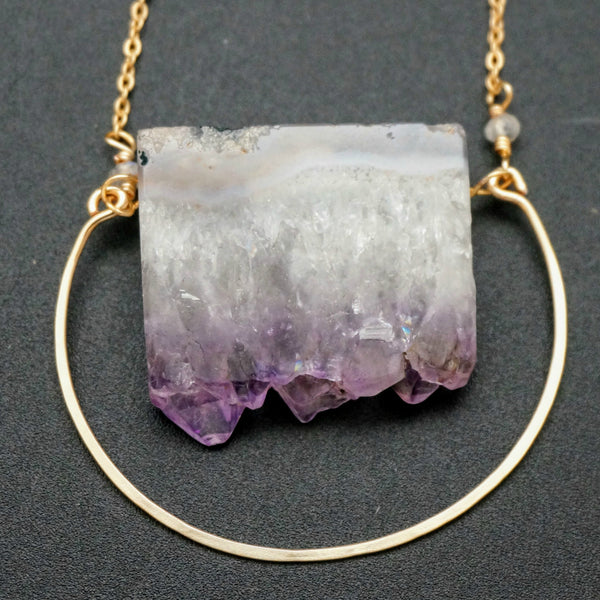 Amethyst Ore & Moonstone Half Circle Pendant - 28 Inches