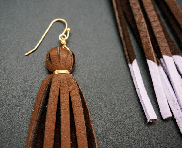 Deer Lace Tassel Earrings - Brown & Lavendar