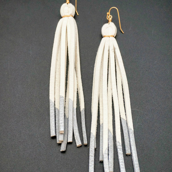Deer Lace Tassel Earrings - White & Silver