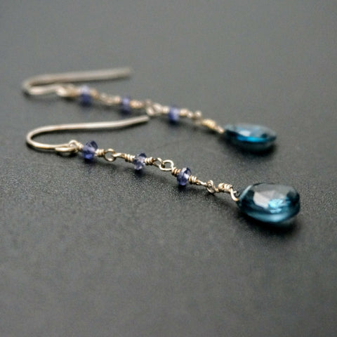 Blue Mystic Quartz Drop Earrings
