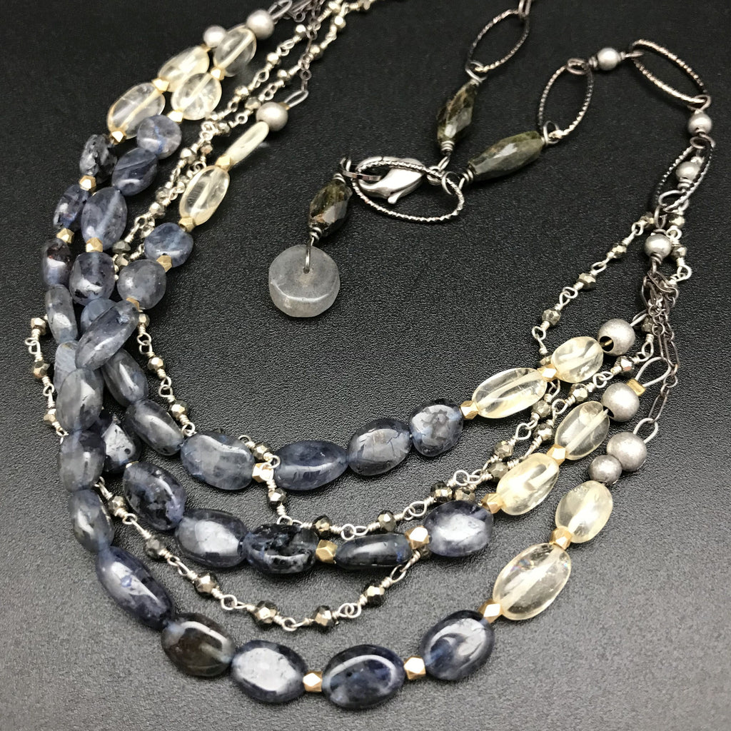 Iolite Multi-strand Necklace - 18 Inches