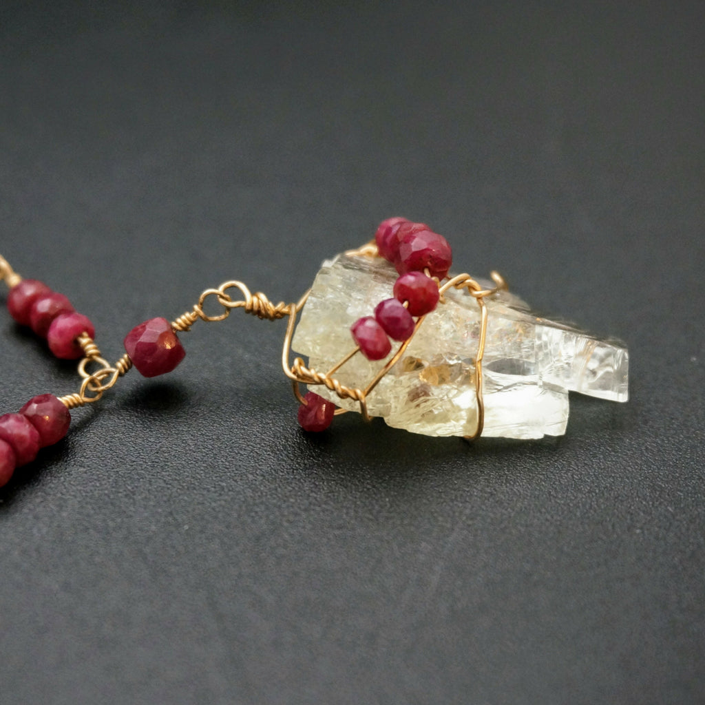 Kunzite Crystal and Ruby Pendant
