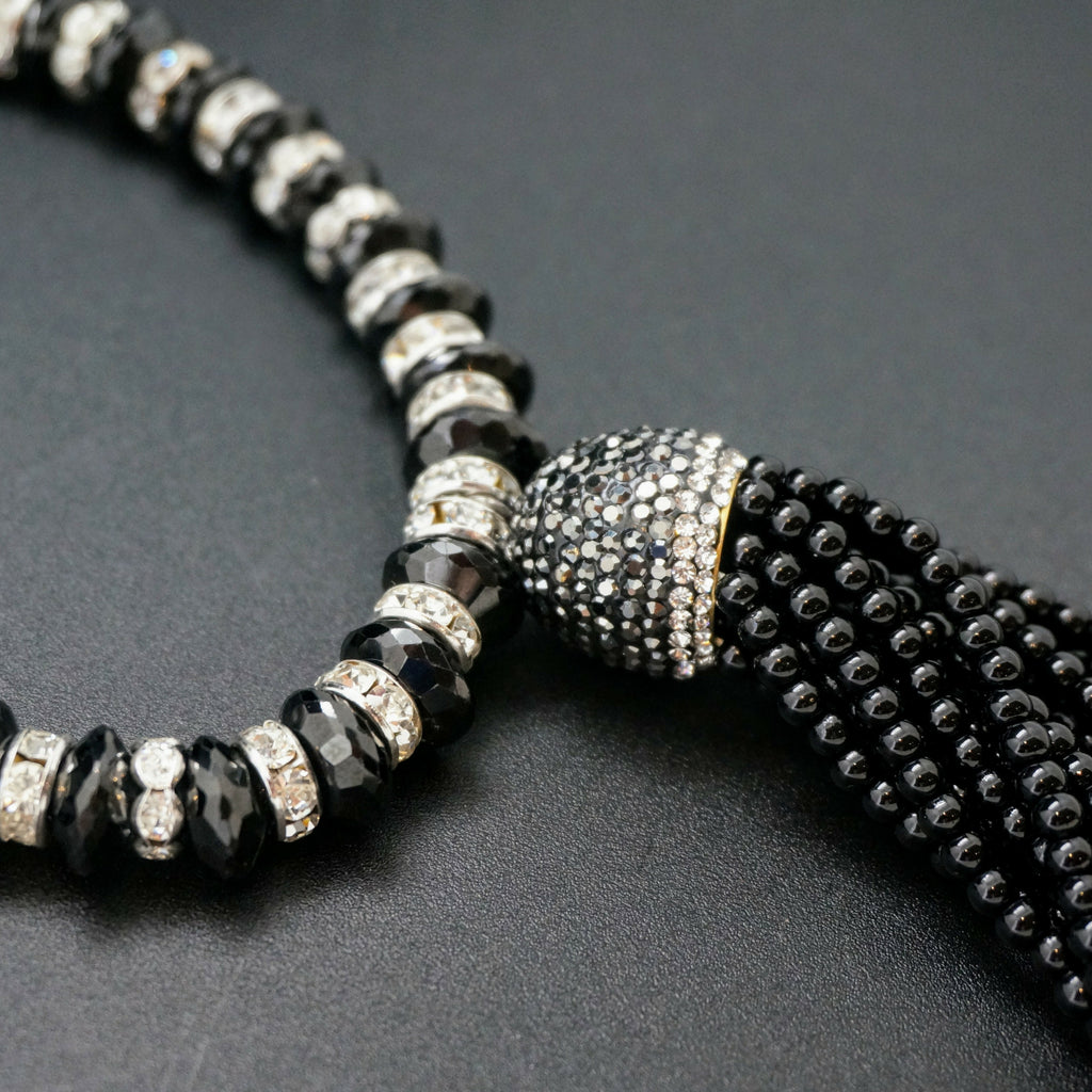 1920s-Style Black Spinel and Rhinestone Tassel Necklace