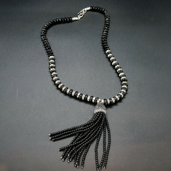 1920s Onyx and Rhinestone Tassel Necklace - 24 inches