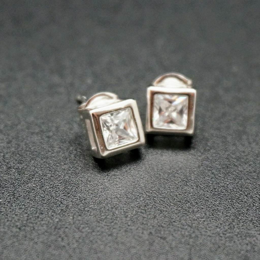 Square Faux Diamond Bezel Set Studs