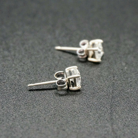 Square Faux Diamond Prong Set Studs