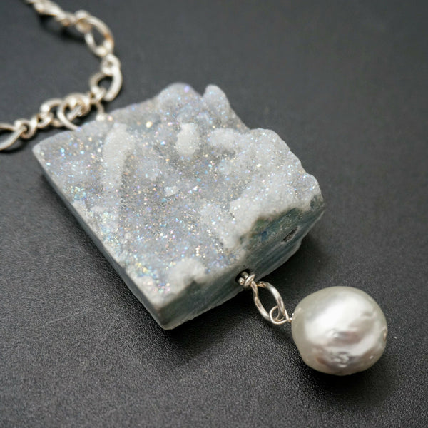 Druzy and Fresh Water Pearl Pendant