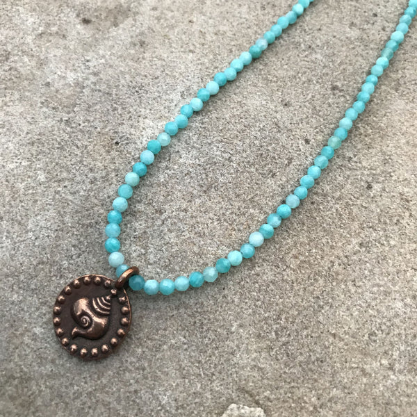 Necklace, Mini Facet Gemstone with Pendant