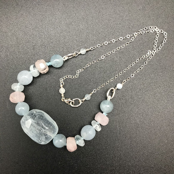 Necklace, Aquamarine and Morganite