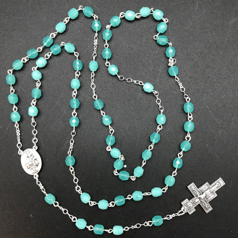 Rosary, Aqua Czech Glass