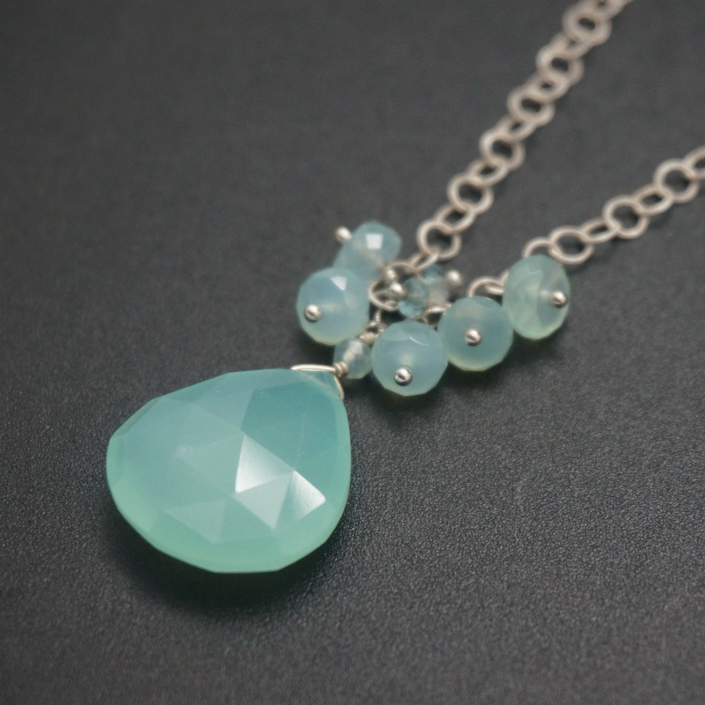 Silver Chalcedony Pendant - 20 Inches