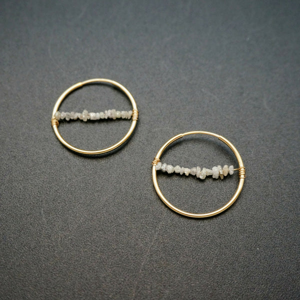 Raw Diamond Hoop Earrings