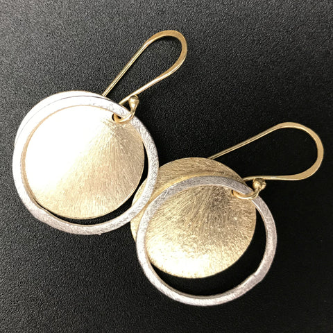 Two Toned Circle Drop Earrings