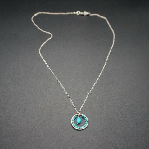 Turquoise Circle Pendant - 20 inches