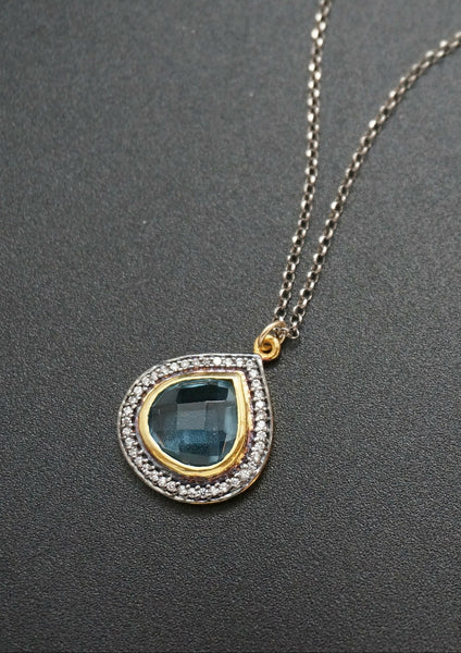 Pave White Topaz with Quartz
