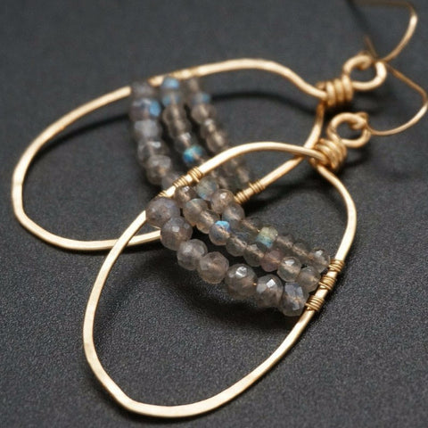 Labradorite Hammered Earrings