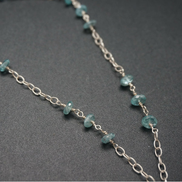 Chalcedony and Apatite Pendant - 26 Inches