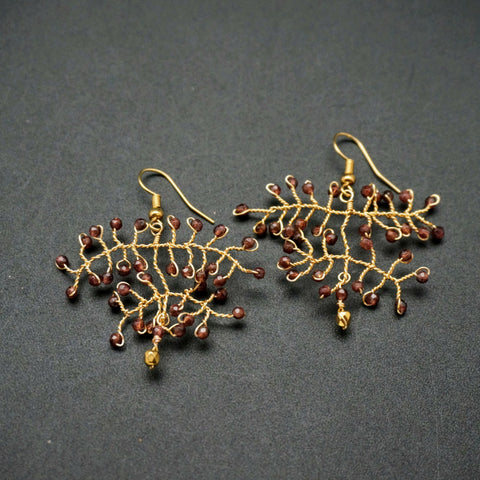 Garnet Gold Wire Drop Earrings