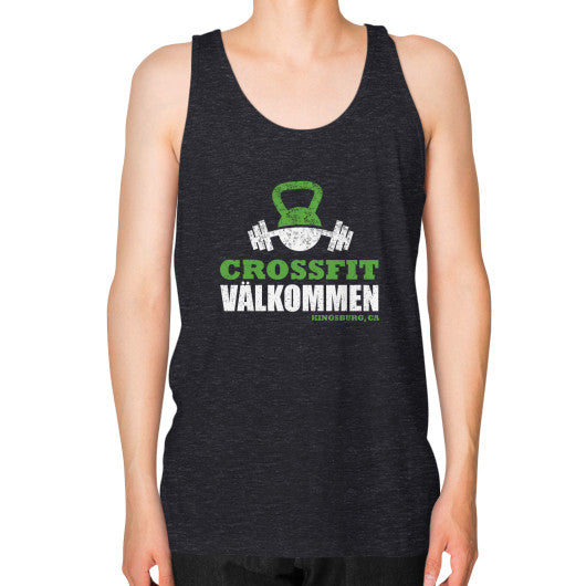 Unisex Fine Jersey Tank (on man) Tri-Blend Black Crossfit Valkommen Store