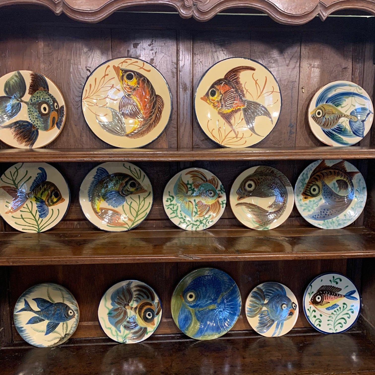 Set of 12 Puigdemont Hand Painted Fish Plate