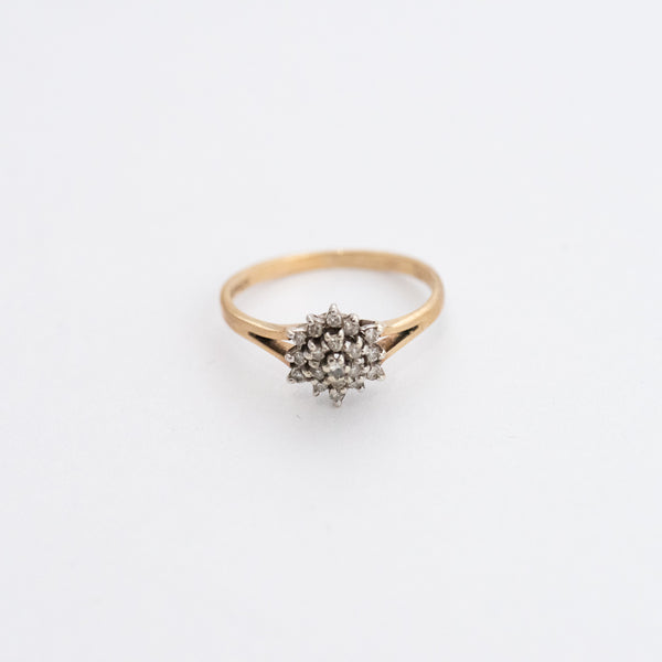 Diamond Cluster 9k Gold Ring with Hallmark