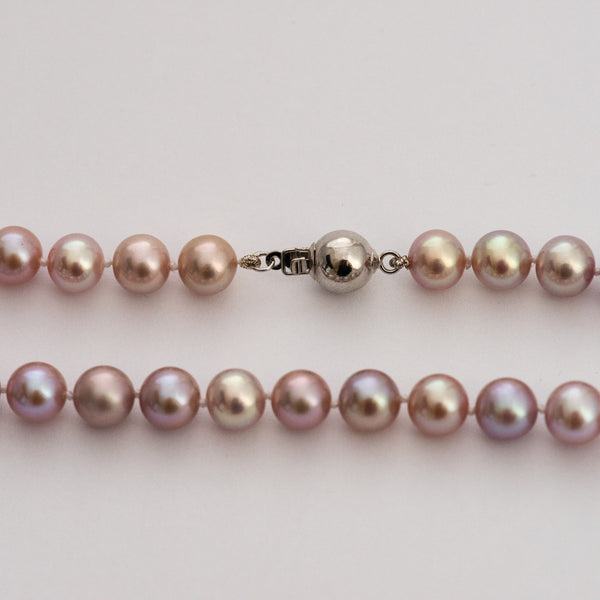 Real Lavender Pearl Short Necklace.