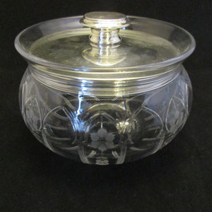 Sterling Silver Lidded Cut Glass Pot Vintage Birmingham 1925.