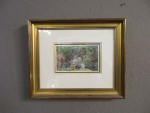 Attributed To Frederick Albert Slocombe Shells & Feathers On A Mossy Bank Watercolour.