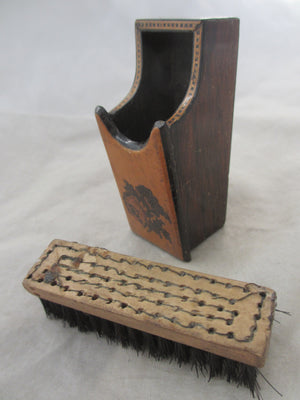 A Miniature Tunbridge Ware Brush Holder circa 1900  Antique