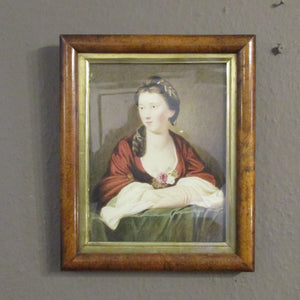 Watercolor Portrait Of A Lady In A Walnut Frame Vintage 20th Century.