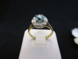 18K Gold And Russian Natural Blue Zircon And Diamond Ring C1970.