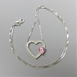 9ct White Gold Pink Topaz & 0.25ct Diamond Heart Pendant Contemporary