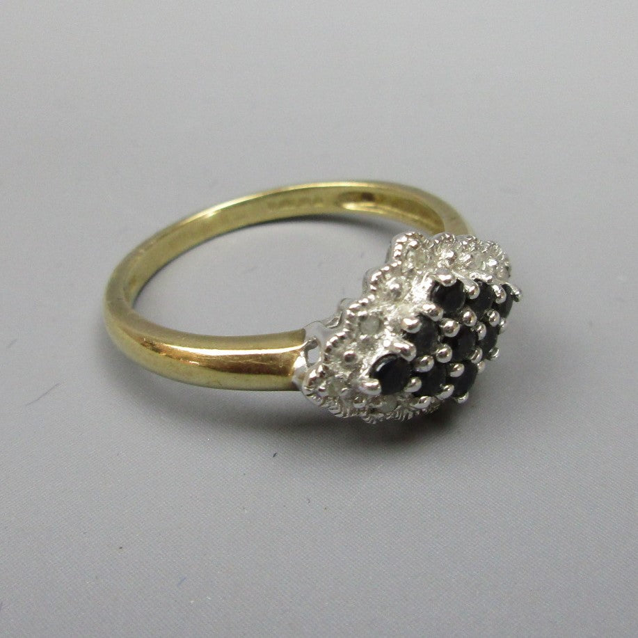 9ct Gold Saphire & Diamond Ring Size 0 Contemporary