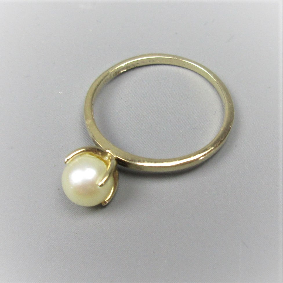 9ct Rose Gold Pearl Ring Size Q/8