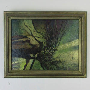 Abstract Oil Painting On Board Of Aquatic Plants By J.Kossoff Vintage 20th Century.