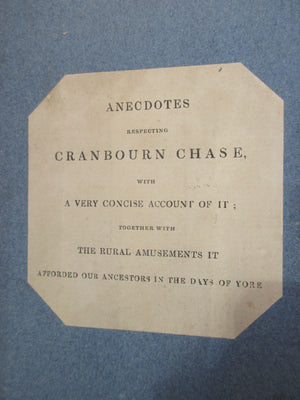 'Anecdotes Respecting Cranbourn Chase' by Pitt Rivers Antique Reprint c1886.
