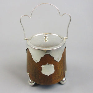 Antique Silver Plated Oak Biscuit Barrel with Handle Antique c1900