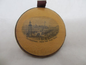 Wooden Treen Mauchline Ware Pin Wheel depicting Folkston, Antique Victorian c.1900.