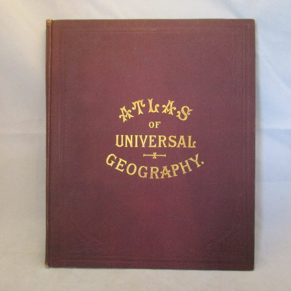 'Atlas of Universal Geography' Reference Book Antique c1890.