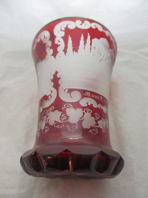 Bohemian Glass Ruby Cut Vase Antique Victorian c.1850