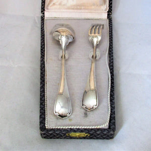 Boxed French Sterling Silver Spoon & Fork Set Vintage Charles Christofle c1940.