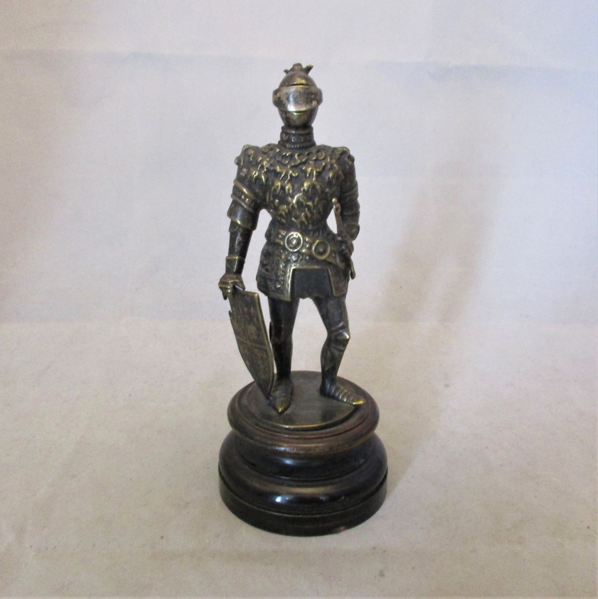 Brass Knight In Armour Figure On Wooden Base  Antique Victorian.